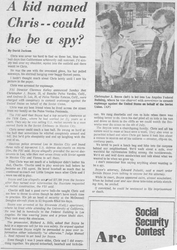 1977_Newspaper_Article_Christopher_Boyce_Daulton_Lee_Falcon and the Snowman_American Sons